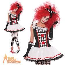 Jester Halloween Costume Womens Harlequin Honey Clown Jester Halloween Fancy Dress Costume