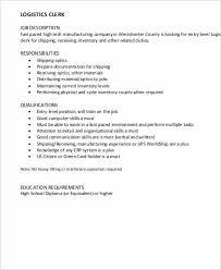Logistics Responsibilities Resume Logistics Clerk Job Description Logistics Clerk Job Description