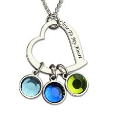 photo engraved necklace personalized jewelry silver heart birthstone necklace to