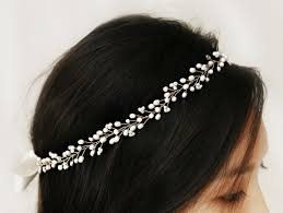 pearl hair accessories bohemian bridal freshwater pearl hair vine halo headpiece crown