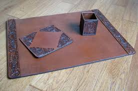 Brown Leather Desk Accessories Tooled Leather Desk Set Western Style Gifts Free Shipping