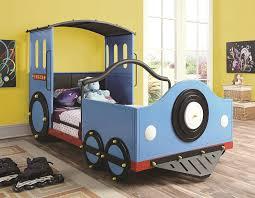 amazon com coaster 400411 home furnishings train bed twin blue