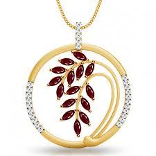 diamond studded ruby leaf diamond studded pendant jacknjewel