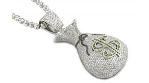 customized pendants 13 50ct customized green white diamond white gold money bag pendant