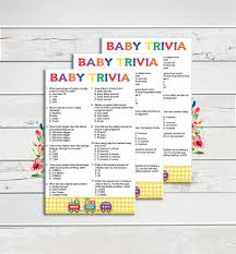 baby trivia baby shower game yellow gingham train rainbow
