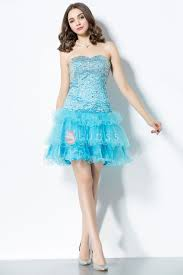 beaded strapless bodice ruffled skirt aqua short fashion cocktail