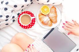 coffee croissants feet plate bed morning breakfast hd wallpaper