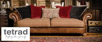 Tetrad Upholstery Jefferson Sofa Leather And Fabric Mix - Kings sofa