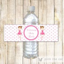 ballerina bottle label birthday baby shower u2013 pink the cat