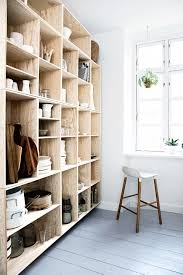cabinets drawer natural finishes wood open shelving cabinets natural finishes wood open shelving cabinets for white cooking pots dinner wares and also white bar stools scandinavian kitchen