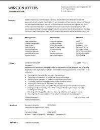 restaurant resume template restaurant assistant manager resume templates cv exle