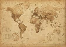 Decorative World Map Vintage World Map Decorative Posters Ebay