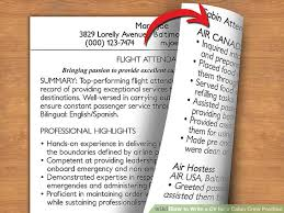 Air Hostess Resume Sample by How To Write A Cv For A Cabin Crew Position With Pictures