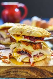 turkey bacon and egg breakfast sandwich with cranberry mayo