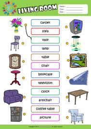 living room esl matching exercise worksheet for kids vocabulary