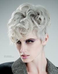 short silver hair with a smooth curved fringe and curls on the crown