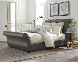 King Size Sleigh Bed Splendid Smoke Grey Tufted Leather King Size Sleigh Bed Design