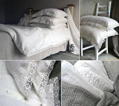 provincial living natural softened linen duvet cover with linen lace