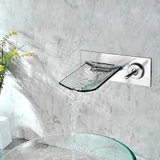 Wall Mounted Bathroom Sink Faucets by Mounted Nickel Copper Waterfall Bathroom Sink Faucet At