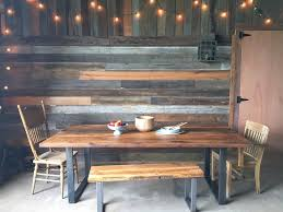 reclaimed wood table with metal legs industrial modern dining table u shaped metal legs what we make