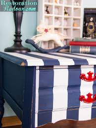 navy and white striped nightstand restoration redoux