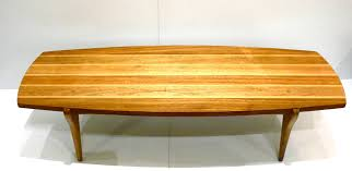 mid century modern rare surfboard coffee table brown saltman by