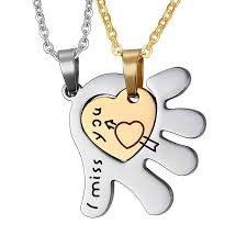 necklaces for i miss you heart pendant necklaces for couples