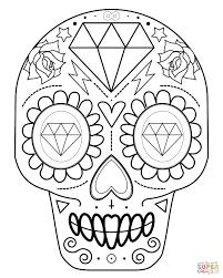 printable coloring pages sugar skulls simple sugar skull drawing with diamonds coloring page beauteous