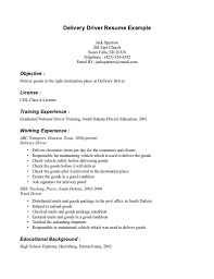 resume for a driver resume for your job application