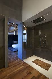 Contemporary Laminate Flooring Interior Modern Bathroom Decoration With Shower Stall Designed