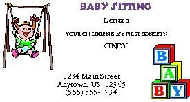childcare business cards child care baby sitters business cards