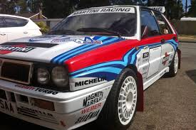 martini livery lancia lancia delta integrale looks like a rally car but is road legal