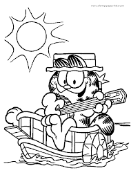 garfield color page coloring pages for kids cartoon characters