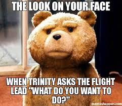Trinity Meme - the look on your face when trinity asks the flight lead what do you
