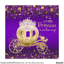 purple and gold princess carriage baby shower card baby shower