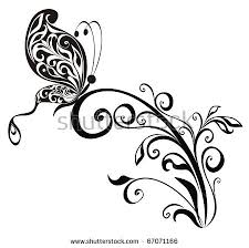 vector floral ornament butterfly element design stock vector