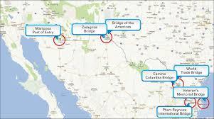 map usa mexico border using rfid readers to measure wait times at the u s mexico border