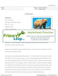 fillable online reading comprehension grizzly bear primary