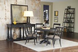 vintage tempo round dining room set in charcoal black by pulaski