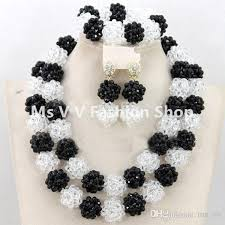 black costume necklace images 2018 chunky black white nigerian bridal beads necklace set african jpg