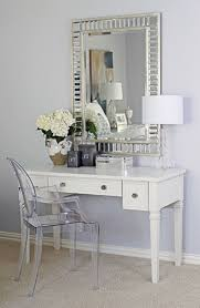 Silver Vanity Chair Plexiglass Chair And Classic Vanity Using Silver Framed Mirror For