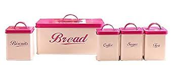 pink kitchen canister set 5 pieces bread biscuit coffee tea sugar bin canister