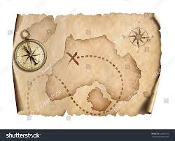 Map With Compass Old World Map Compass Isolated 3d Stock Illustration 628576652