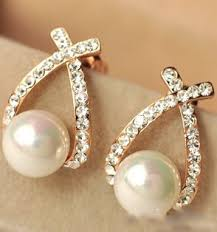 earrings brand jewelry new brand design gold color pearl stud earrings for women