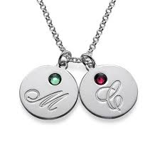 necklace birthstones initial pendant necklace with birthstones mynamenecklace