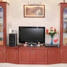 decor flokati area rug and tile flooring with lcd tv wall cabinet