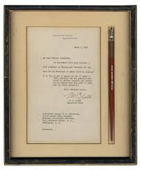 lot detail dip pen used by franklin d roosevelt as president in