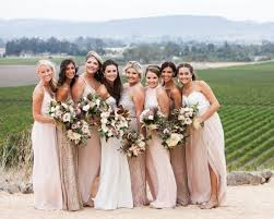 wedding bridesmaid dresses chagne and burgundy wine country wedding bridesmaids dresses