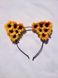 sunflower headband sunflower cat ear headband the flower halo online store