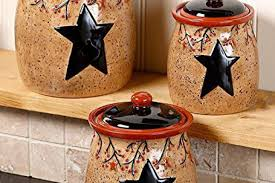 Canisters For Kitchen Counter by Set Of 3 Primitive Rustic Star Berries Canisters Country Rustic